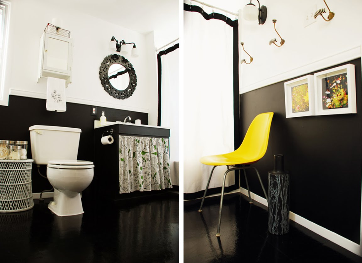 Lakberendez s a fekete feh r s s rga sz nek kombin ci j val for Yellow and black bathroom ideas